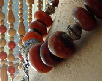 Moroccan Resin Bead Vintage Berber Finding Reconstructed Tribal Ethnic Style Necklace Honey Amber Color