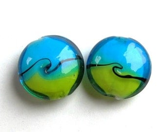 Pair of Recycled Blue and Green Lampwork Glass Lentil Beads