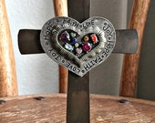 Rustic Tabletop Cross with Stamped Rhinestone Pewter Heart