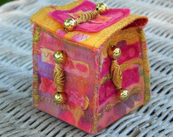 MINI FABRIC BOX - Pink & Gold