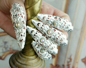 Crystal Fairy Nail Rings Fierce  Filigree Jeweled Claw Nail Armor Ring Set Five Rings Dragon Nails