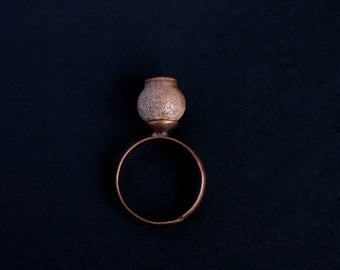 Eucalyptus Pod Ring - Nature Jewelry - Adjustable - Delicate Stackable Ring - Copper