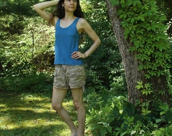 womens organic hemp tank top - loose fit - 100% hemp and organic cotton - hand dyed in blue