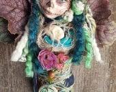 ooak Art Doll,  Kitchen Decor, Shabby shic, kitchen witch, Dia de los muertos, sugar skull art, Mexican folk art