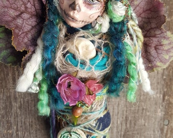 ooak Art Doll,  Kitchen Decor, Shabby shic, kitchen witch, Dia de los muertos, sugar skull art, Mexican folk art