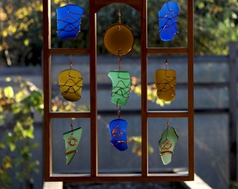 Sun Catcher Large Framed Sea Beach Glass Copper Wrapped Colorful stained glass