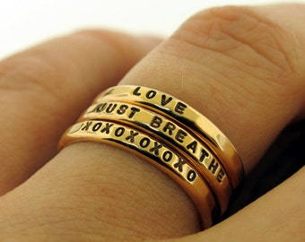 Bronze Ring, custom made ring with your personalized inscription and hammered texture