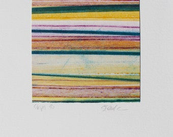 Stripes 90 - yellow, pink, turquoise striped Collagraph hand-pulled print - 4.25 x 4.25 inches OOAK