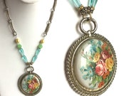 Handmade Floral Pendant Necklace, Flower Bouquet on Silver, Victorian Book Chain, Aqua Teardrop, Green Glass, Yellow Beads, Vintage Material