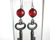 Handmade Red Heart Key Earrings - Antique Silver Keys with Heart-Shaped Tops - Rose Red Faceted Glass Beads - Romantic Statement Earrings