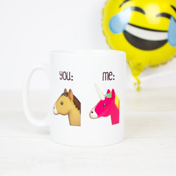 Funny emoji unicorn you and me coffee mug, funny unicorn gift mug for birthday gifts or any occasion, horse and unicorn emojis