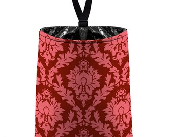 Car Trash Bag // Auto Trash Bag // Car Accessories // Car Litter Bag // Car Garbage Bag - Coral Pink Cranberry Maroon Damask / Car Organizer