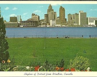 Vintage 1960s Postcard Detroit Michigan Skyline Building Architecture Scenic City View Winsor Garden Photochrome Era Postally Unused