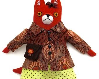 Fancy Girl Fox Doll in Peacock feather Liberty coat wool plush softie
