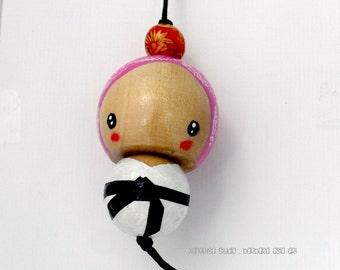 Handmade Kokeshi Charm Ornament - Little Miss Blackbelt - Martial Arts