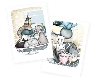 Cat cafe Greetings cards - set of two - vintage cat teapot - crazy cat lady