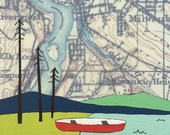 Milwaukie / 5 x 5 Map Painting / Oregon Art / Map Art / Modern Decor / Umbrella / Canoe Art / Portland Art / Wedding Gift / RAA
