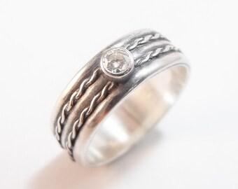 Moissanite Engagement Ring, Women's Wedding Ring, Double Twist Moissanite Ring, Women's Wedding Band, Moissanite and Silver Ring, Size 5.5