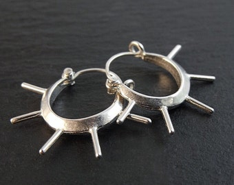 Earrings - Sterling Silver Spiked Hoops - Handmade in Seattle