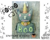 Primitive Halloween Black Cat Paper Mache Clay JOL Pumpkin Bucket  Witch Epattern WITH TutorialVideo by Hickety Pickety ~ Cosmo Cat