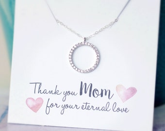 Wedding Jewelry for MOM, Diamond Necklace, Mother of the Bride Gift, Mother of Groom Gift, Thank you Gift, Wedding Gift, CZ Circle Necklace