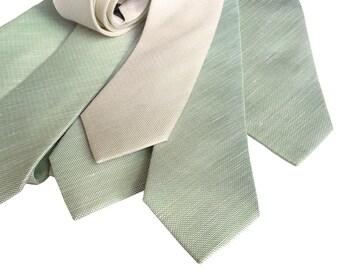 Linen Wedding Neckties. Set of 6 solid color linen ties. Groomsmen 10% discount. Silk & linen blend, select same or coordinating colors!