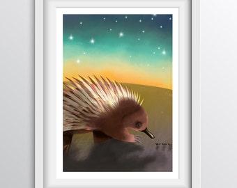 Echidna Nursery Art - Alphabet Art for children: E - Echidna Eating in the Evening - A4 fine art print