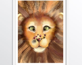 Lion Animal Art Print - Lion and Lady Bug - Alphabet Art for children: L - A3 fine art print for children's rooms