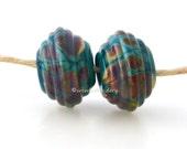 Glass Lampowrk Beads Ribbed Bicone Pair - Teal Raku Handmade - TANERES