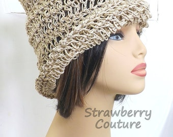 Natural Crochet Hat Womens Hat Trendy,  Womens Crochet Hat,  Crochet Beanie Hat,  Natural Hat,  OMBRETTA Beanie Hat,  Boho Hat