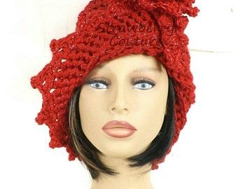 Sparkle Red Cloche Hat,  Womens Crochet Hat,  Red Womens Hat 1920s,  Red Hat,  Red Sparkle,  Lauren 1920s Cloche Hat,  Crochet Flower