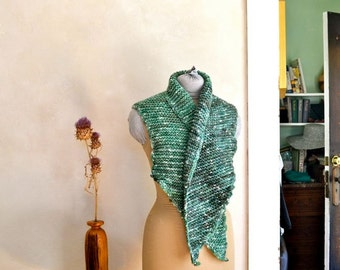 Bulky Scarf/Wrap Hand Knit & Dyed Shades of Green Alpaca Wool