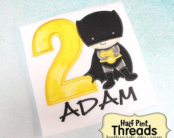 CUSTOM ORDER Black and Yellow Superhero Second Birthday Embroidered Applique Shirt