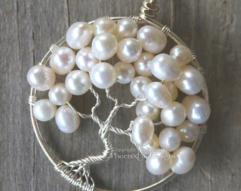 Wedding Jewelry Bridal Necklace Tree of Life Pendant Freshwater Pearl Woodland Weddings Wire Wrapped Tree Ivory Pearl Mother of the Bride