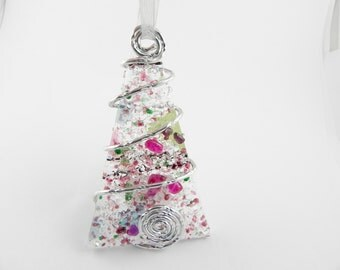 Fused Glass Christmas Tree Ornament - Pink Green Silver