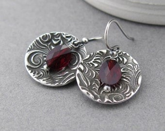 Garnet Earrings Silver Dangle Earrings Red Crystal Earrings January Birthstone Jewelry Bohemian Jewelry Crystal Jewelry Gift Idea - Contrast