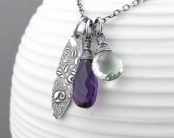 Long Silver Necklace Pendant Necklace Purple Gemstone Necklace Charm Necklace Holiday Gift for Women Simple Jewelry Modern Jewelry - Duets
