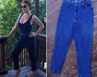 Deep BLUE 1980's 90's Vintage High Waist Skinny Jeans with Tapered Ankles // waist 30 32 Medium // by ACTION WEST
