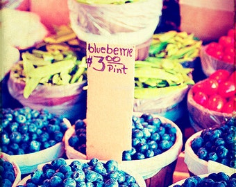 Farmers Market Photography - Fruit - Blueberries - Kitchen Decor - Peas - Market Photos - Dining Room Art - Decorative Food Photography