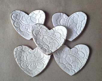 FIVE  OFF WHITE Ceramic Heart ring bowls itty bittys edged in gold