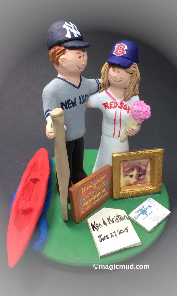 Red Sox Bride Yankees Groom Baseball Wedding Cake Topper New