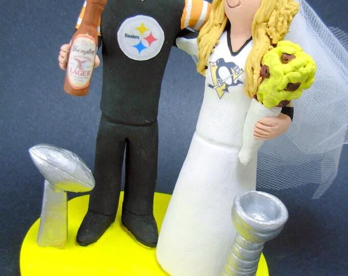 Steelers Football Wedding Cake Topper, Penguins Hockey Wedding Anniversary Gift/Cake Topper, NFL Football Wedding CakeTopper,NCAA Caketopper