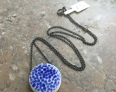 Hammered blue handmade porcelain pendant -sale