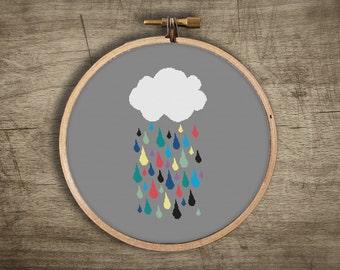 modern cross stitch pattern ++ retro rainbow cloud raindrops ++ pdf INsTAnT DOwNLoAD ++ diy hipster ++ handmade design
