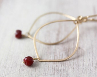 Elegant Forged Gold Hoops with Ruby Dangles Earrings