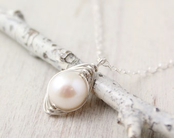 Silver Wrapped White Pearl Necklace