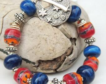 ULTRA GLAM Handmade Lampwork Bead Bracelet