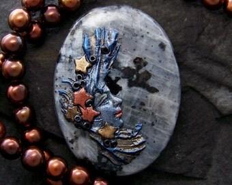 Celestial Star Goddess handmade OOAK cameo Cabochon iridescent Norwegian Moonstone (larvikite) & Polymer CLAY