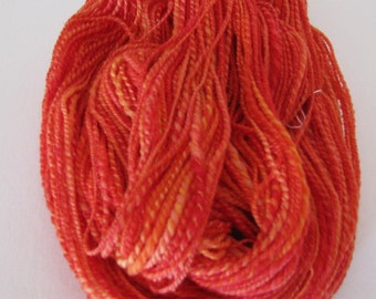 Hand spun merino wool yarn 110+yards Salsa