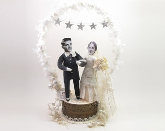 Large Vintage Style Spun Cotton Star Banner and Arch Wedding Cake Topper OOAK